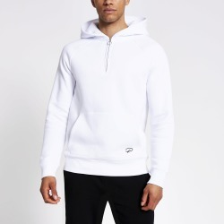 Mens River Island Prolific White half zip slim fit hoodie found on MODAPINS from River Island - UK for USD $37.57