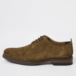 Mens River Island Brown suede lace-up derby shoes