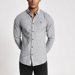 Mens River Island Grey muscle fit long sleeve Oxford shirt