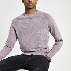 River Island Mens Superdry pink knit crew neck sweatshirt found on MODAPINS from RIver Island US for USD $80.00