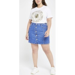Womens Plus Blue button front denim mini skirt found on MODAPINS from River Island - UK for USD $40.66