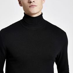 River Island Mens Black slim fit roll neck jumper