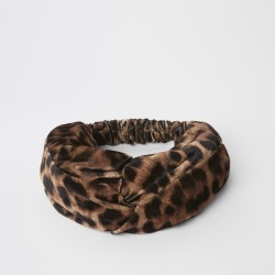 Womens Brown leopard print wide twist headband found on MODAPINS from River Island - UK for USD $12.71