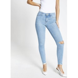 Womens Light Blue Molly mid rise jeggings found on MODAPINS from River Island - UK for USD $52.38