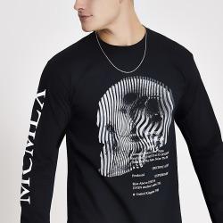 River Island Mens MCMLX black printed long sleeve T-shirt