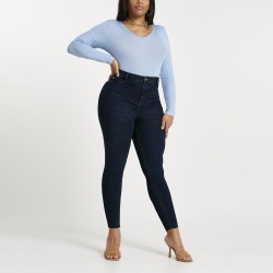 River Island Womens Plus dark Blue Molly mid rise jeggings found on MODAPINS from River Island - UK for USD $59.25