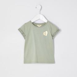 River Island Mini girls Green RI ruffle sleeve t-shirt found on Bargain Bro UK from River Island - UK