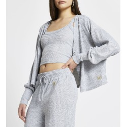 River Island Womens Grey ribbed lounge cardigan and vest found on Bargain Bro UK from River Island - UK