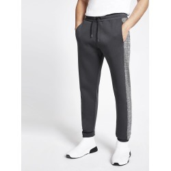 Mens River Island Grey check tape side slim fit joggers