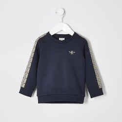 River Island Mini boys navy check taped sweatshirt