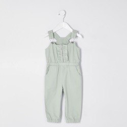 River Island Mini girls Green denim ruffle front jumpsuit found on Bargain Bro UK from River Island - UK