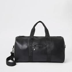 River Island Mens Prolific black strap holdall bag