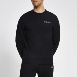 Mens River Island Prolific Black muscle fit sweatshirt