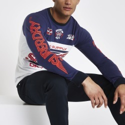 Mens Superdry White logo long sleeve T-shirt found on MODAPINS from River Island - UK for USD $44.46