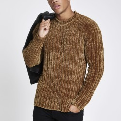Mens River Island Brown muscle fit chenille knit jumper