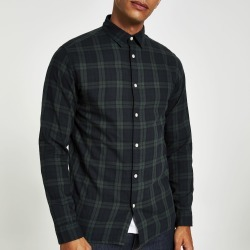 Mens River Island Selected Homme dark Green check shirt