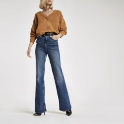 Womens Dark Blue RI flared jeans found on MODAPINS from River Island - UK for USD $31.86