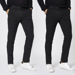 River Island Mens Black stretch skinny smart trousers 2 pack