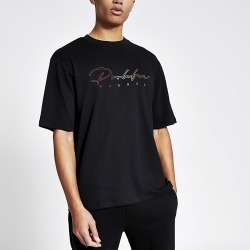 River Island Mens Prolific black embroidered oversized T-shirt