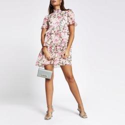 River Island Womens Pink floral print ruffle mini smock dress