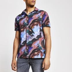 River Island Mens Purple abstract short sleeve slim fit shirt
