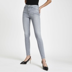 Womens Grey Molly contrast mid rise jeggings found on MODAPINS from River Island - UK for USD $31.18