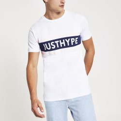 Mens River Island Hype White 'Just hype' short sleeve T-shirt
