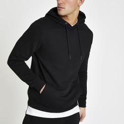 River Island Mens Black slim fit long sleeve hoodie