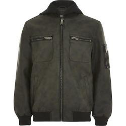 River Island Boys dark grey faux leather hood jacket