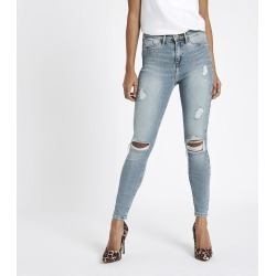 Womens Petite light Blue Molly ripped jeggings found on MODAPINS from River Island - UK for USD $31.18