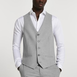 River Island Mens Grey textured suit waistcoat found on MODAPINS from RIver Island US for USD $70.00