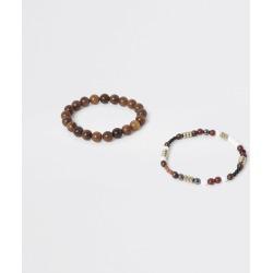 Mens River Island Brown beaded bracelet 2 pack