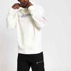 Mens River Island White printed long sleeve slim fit hoodie