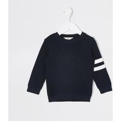 River Island Mini boys navy stripe sleeve knitted jumper