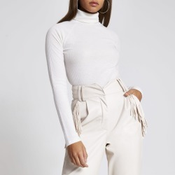 River Island Womens Cream roll neck long sleeve ribbed top found on MODAPINS from River Island - UK for USD $15.03