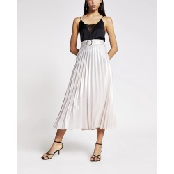 River Island Womens Silver belted pleated midi skirt found on Bargain Bro UK from River Island - UK