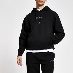 River Island Mens Prolific black regular fit hoodie