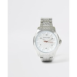 River Island Mens Silver colour RI embossed chain link watch