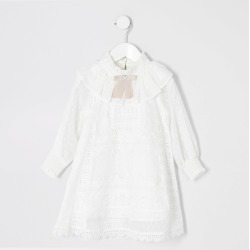 River Island Mini girls White lace bow collar dress found on Bargain Bro UK from River Island - UK