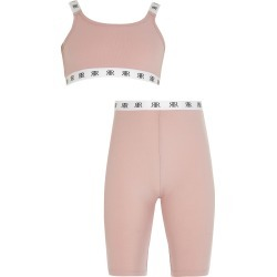 River Island Girls Pink crop top and cycling shorts set found on Bargain Bro UK from River Island - UK