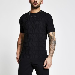 Mens River Island MCMLX Black embossed knitted T-shirt