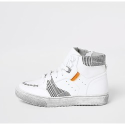 River Island Boys white checked high top trainers found on Bargain Bro India from RIver Island US for $44.00