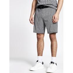 River Island Mens Grey herringbone stripe slim fit shorts