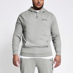 Mens River Island Big and Tall Prolific Grey slim fit hoodie
