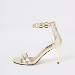 River Island Womens Gold chain ankle wide fit heeled sandals found on MODAPINS from River Island - UK for USD $56.36