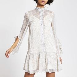 River Island Womens Cream floral frill mini smock dress