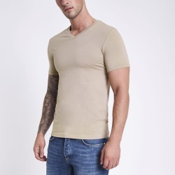 Mens Light Brown muscle fit V neck T-shirt found on MODAPINS from River Island - UK for USD $10.17