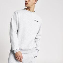 Mens River Island Prolific Grey regular fit sweatshirt