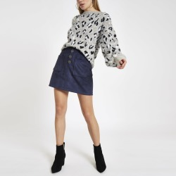 River Island Womens Navy faux suede button front mini skirt found on Bargain Bro UK from River Island - UK