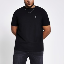 River Island Mens Black embroidered slim fit T-shirt